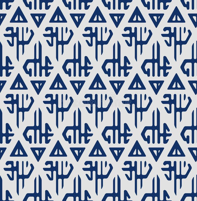 Japanska Indigo Tribal Seamless Pattern stock illustrationer