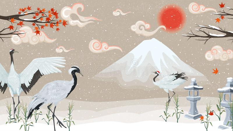 Japanska kranar på solnedgången i vinter stock illustrationer