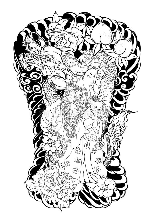 Japanska kvinnor i kimono med hennes katt och drake vektor illustrationer