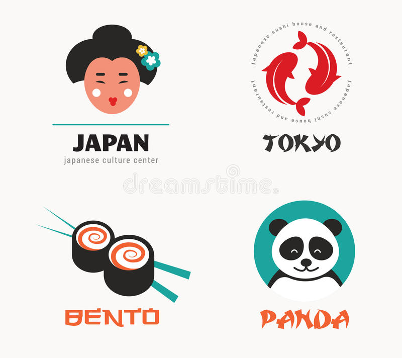 Japanska mat- och sushisymboler, menydesign stock illustrationer