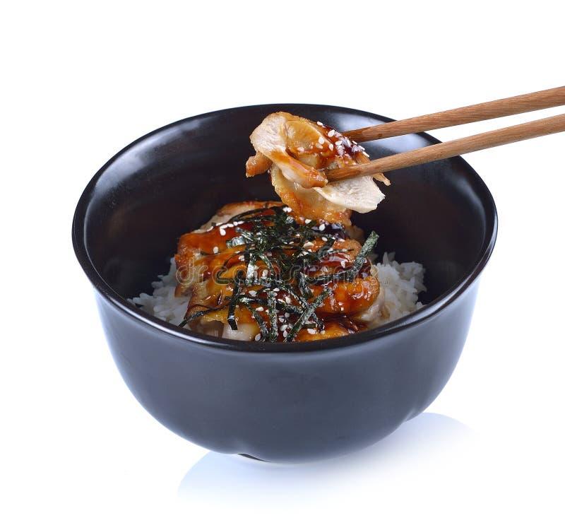Japanska matris med höna i Teriyaki sås på den svarta bunken royaltyfri fotografi