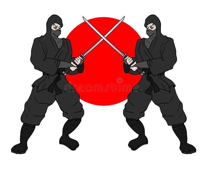 Japanska ninjas vektor illustrationer