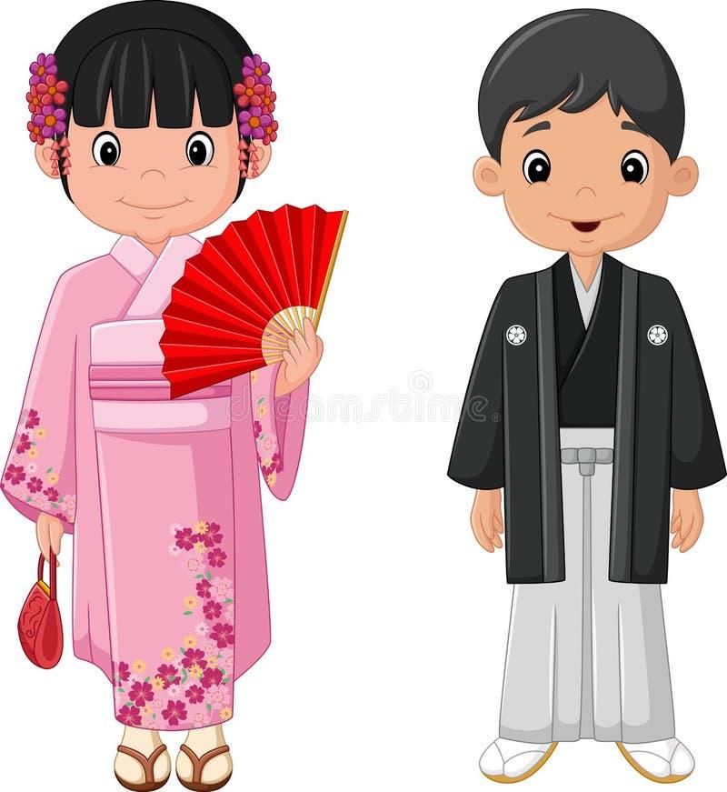 Japanska par för tecknad film som bär den traditionella dräkten stock illustrationer