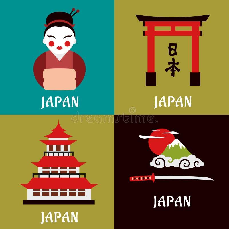 Japanska plana symboler för kultur och för klosterbroder royaltyfri illustrationer