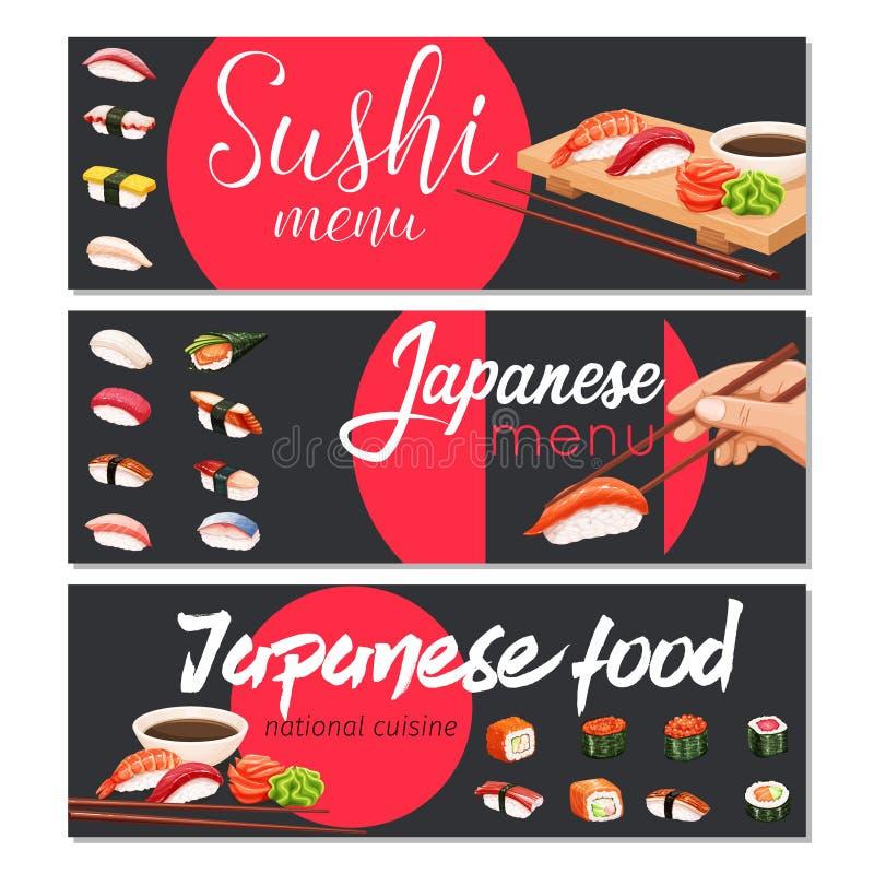 japanska rullsushi vektor illustrationer