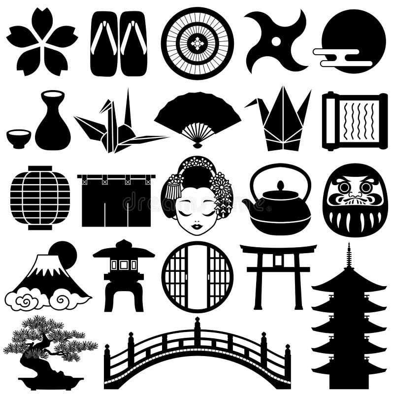 japanska symboler royaltyfri illustrationer