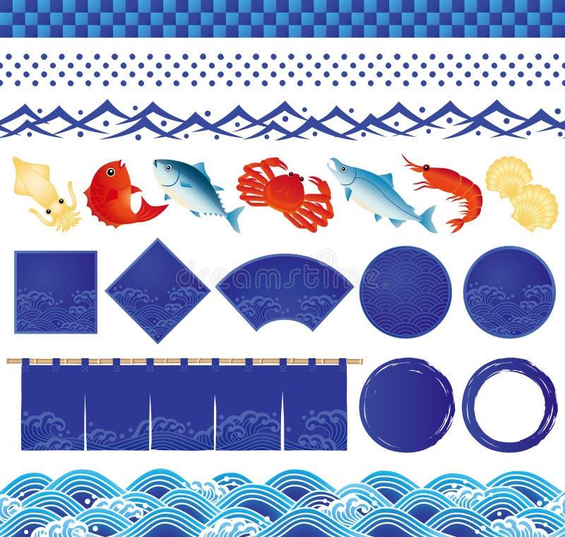 Japanska symboler för havvåg och fiskillustrationer. royaltyfri illustrationer