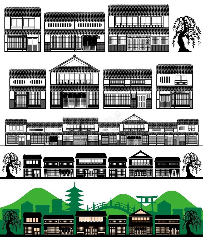 Japanska traditionella hus vektor illustrationer