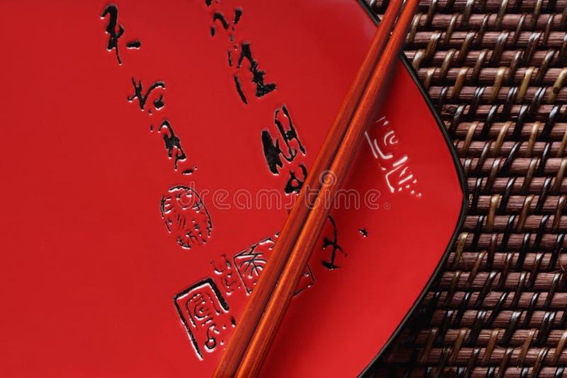 japanska uppläggningsfatsticks för kotlett royaltyfria foton