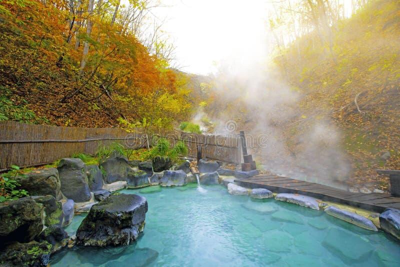 Japanskt Hot Springs Onsen naturligt bad som omges av röd-guling sidor I nedgång faller sidor i Japan Vattenfall bland många lövv arkivbild