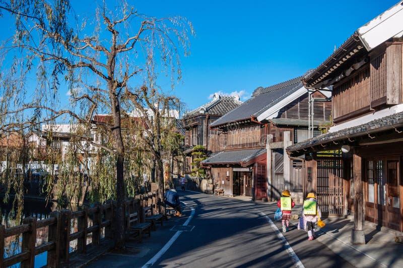Japanskt hus för gammal tappning i Sawara, Katori, Chiba arkivfoto