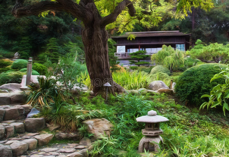 Japanskt hus för teträdgård royaltyfri foto