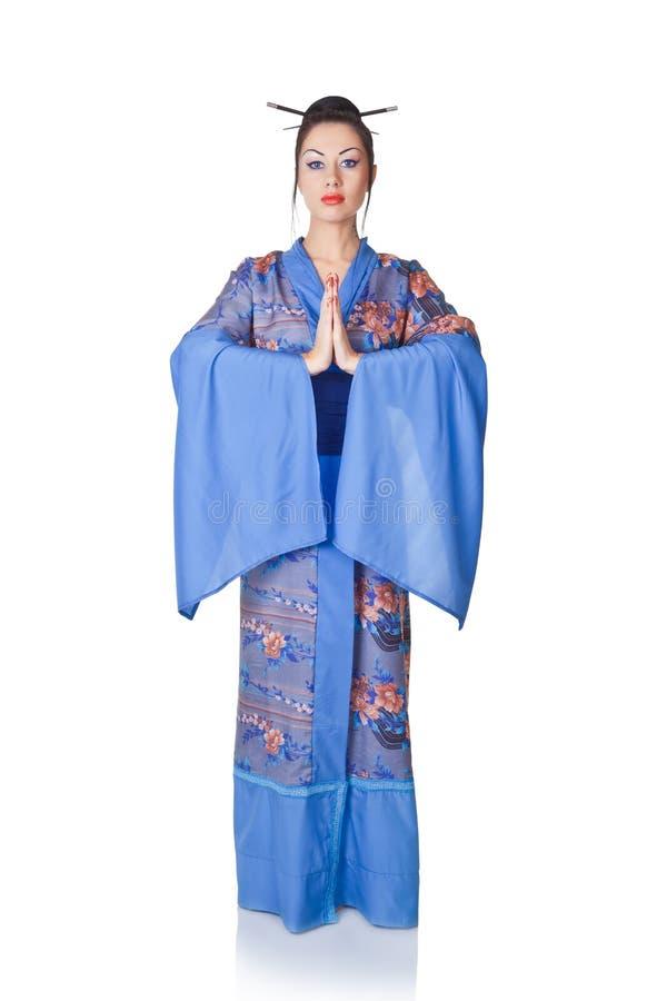 japanskt kimonokvinnabarn royaltyfria bilder