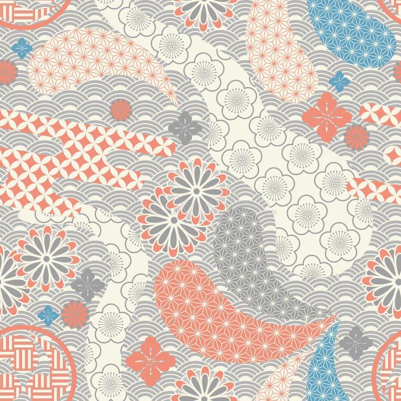 japanskt modernt seamless för bakgrund stock illustrationer