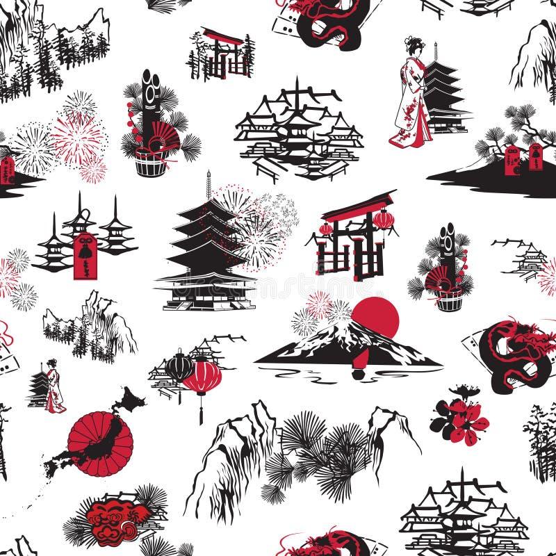 Japanskt nytt år för sömlös modell vektor illustrationer