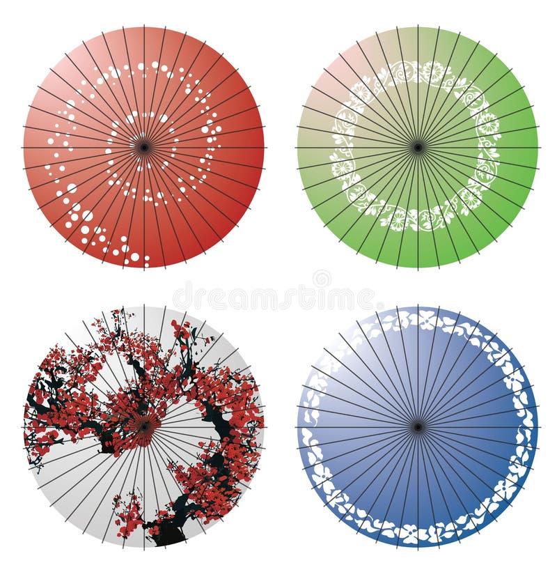 Japanskt paraply vektor illustrationer