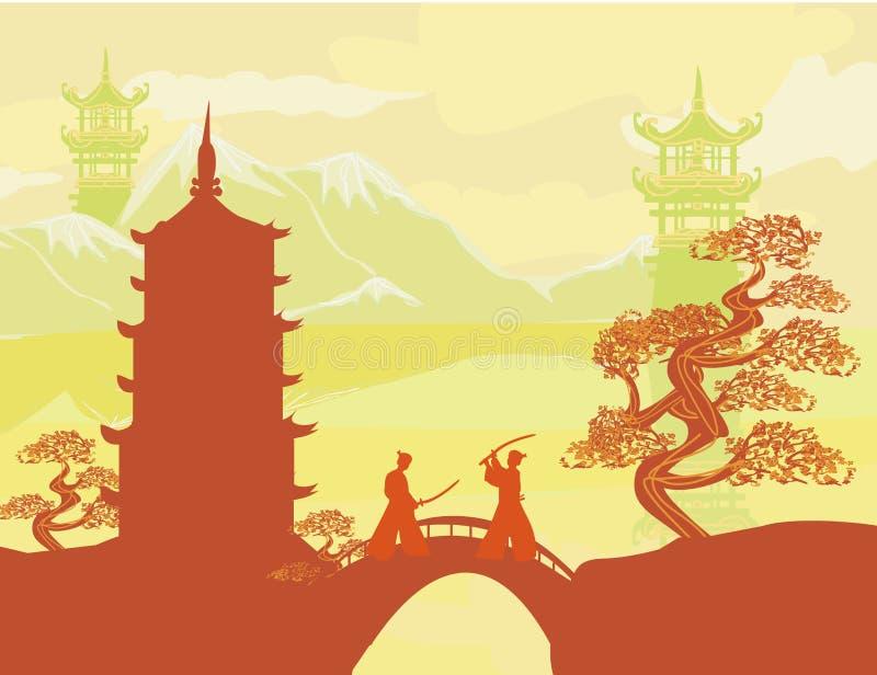 Japanskt samurajkämpekort stock illustrationer