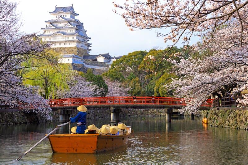 Japanskt sceniskt landskap på den Himeji slotten royaltyfri foto