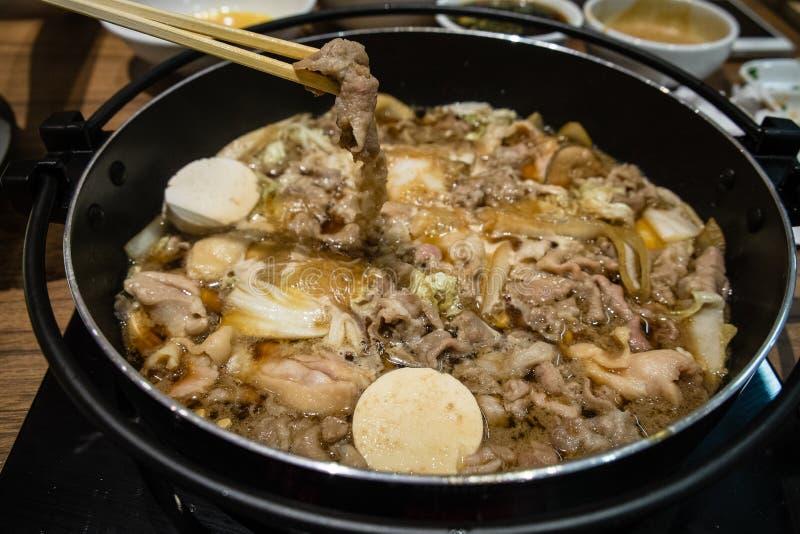 JapanSukiyaki kruka royaltyfria bilder