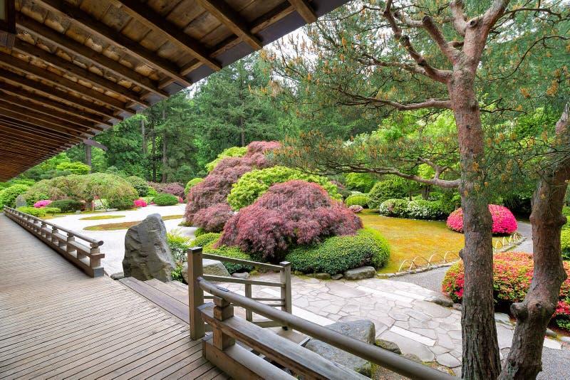 Japanträdgård från verandan arkivfoton