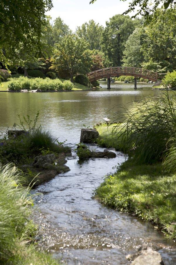 Japanträdgård i den Missouri botaniska trädgården fotografering för bildbyråer
