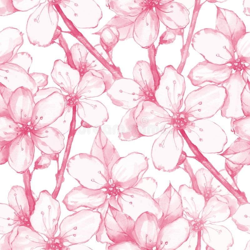 Japanträdgård 20 seamless blom- modell vektor illustrationer