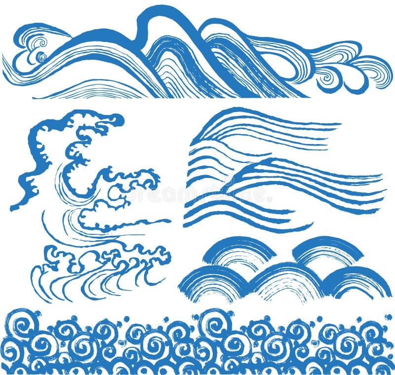 Japanvågor royaltyfri illustrationer