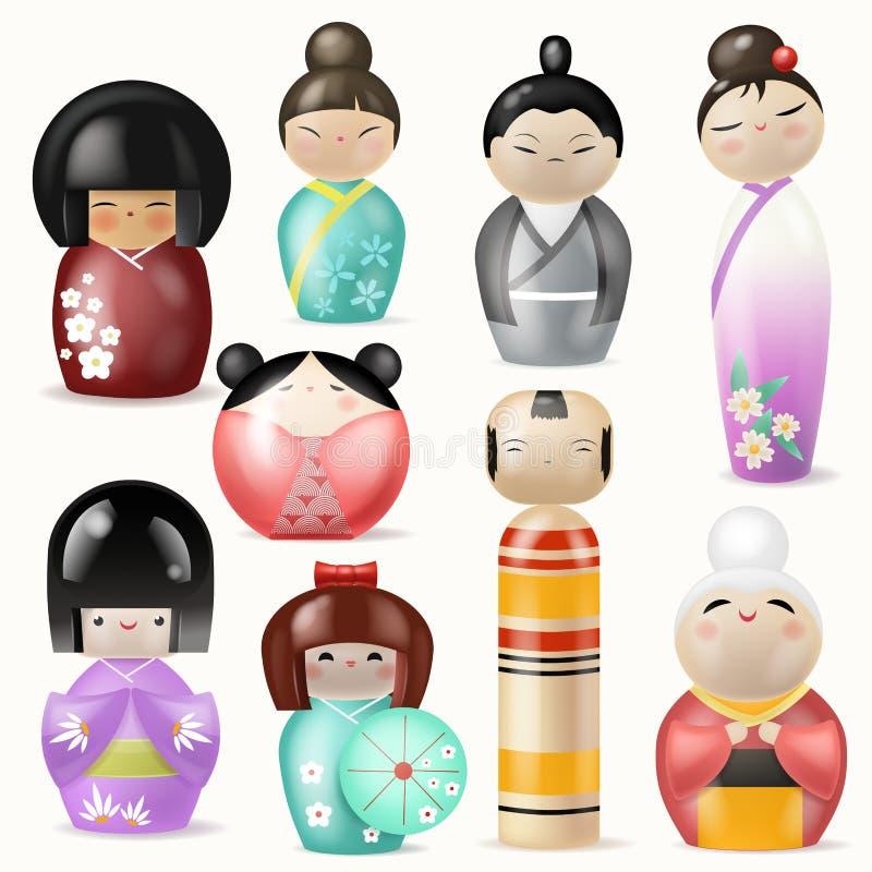 Japończyka Kokeshi lal dziewczyny kobiety charakteru wektorowa piękna gejsza w żeńskim tradycyjnym girlie kimonie w Japonia ilustracja wektor