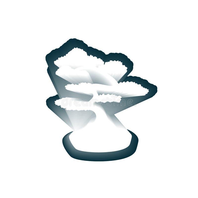 Japoński papercut projekta szablon z bonsai ilustracji