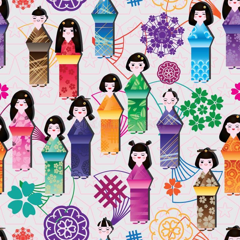 Japońskiego lali fan wysokiego smokingowego kształta bezszwowy wzór ilustracji