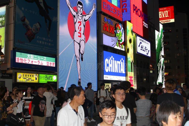 Japończycy noc neonowych billboardów, Dotonbori, Osaka obraz royalty free