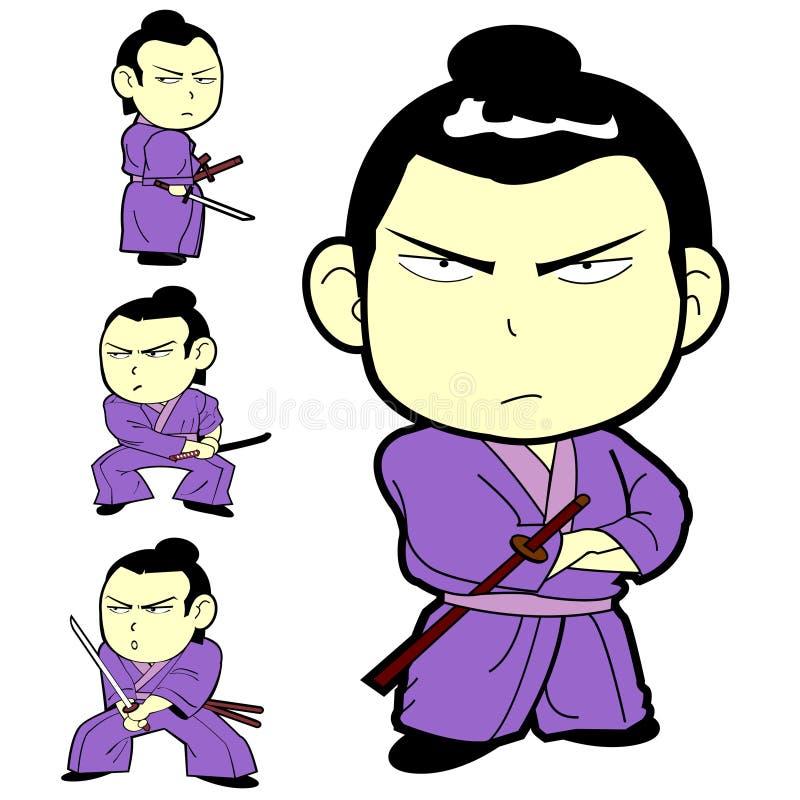 japończyk żartuje samurajów kordzika wojownika ilustracji