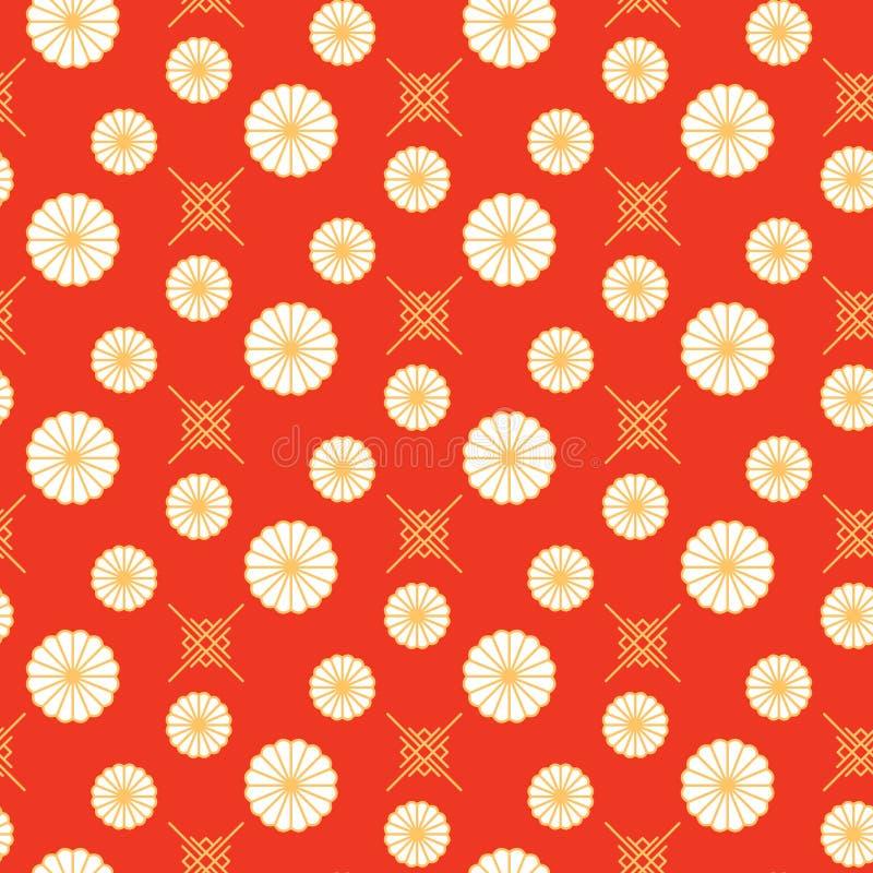 Japończyk deseniowa czerwień i złociści kwieciści kształtów kolory royalty ilustracja