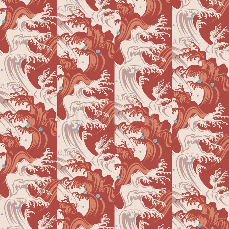 Japończyk fala i wod kropel wzór royalty ilustracja