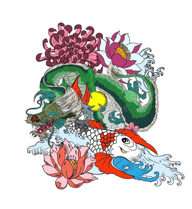 Japończyk Koja i smok Wręcza patroszonej gejszy dziewczyny, figlarki na falowym tle i stary smok z śliwką ilustracji