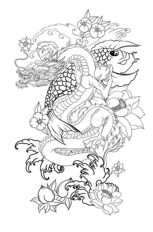 Japończyk Koja i smok Wręcza patroszonej gejszy dziewczyny, figlarki na falowym tle i stary smok z śliwką royalty ilustracja