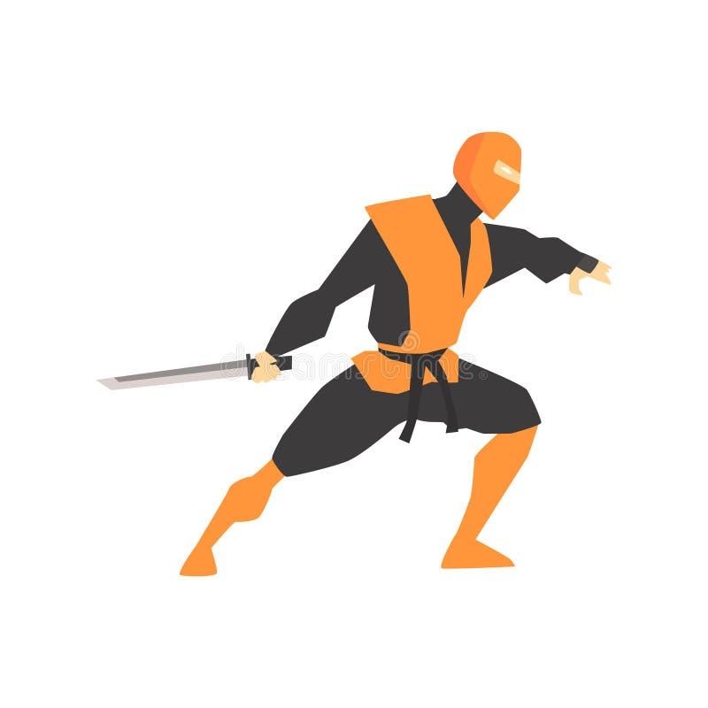 Japończyk Ninja Z Katana kordzika sztuk samoobrony wojownikiem, Walczący sporty Fachowi W Tradycyjny Walczący Sportive royalty ilustracja