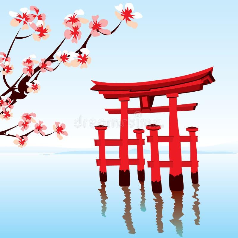 japończyka krajobraz ilustracja wektor