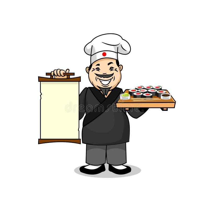 Japończyka kucharz z menu i suszi ilustracja wektor