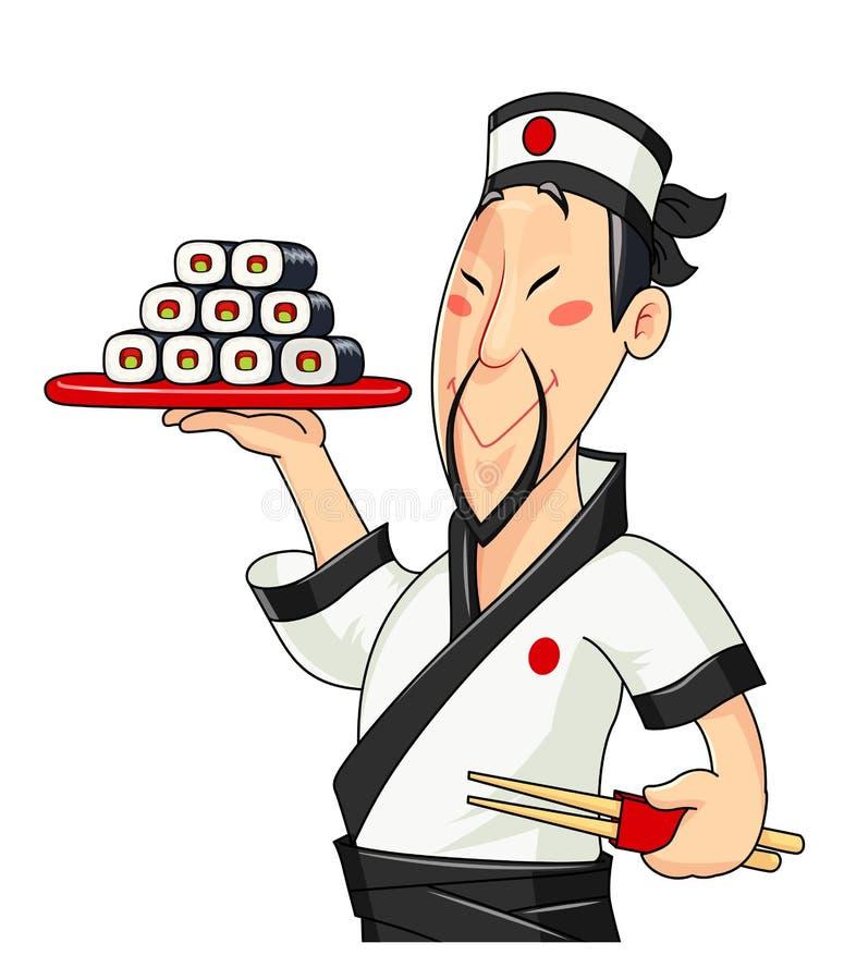 Japończyka kucharz z suszi tradycyjne jedzenie profesjonalista royalty ilustracja