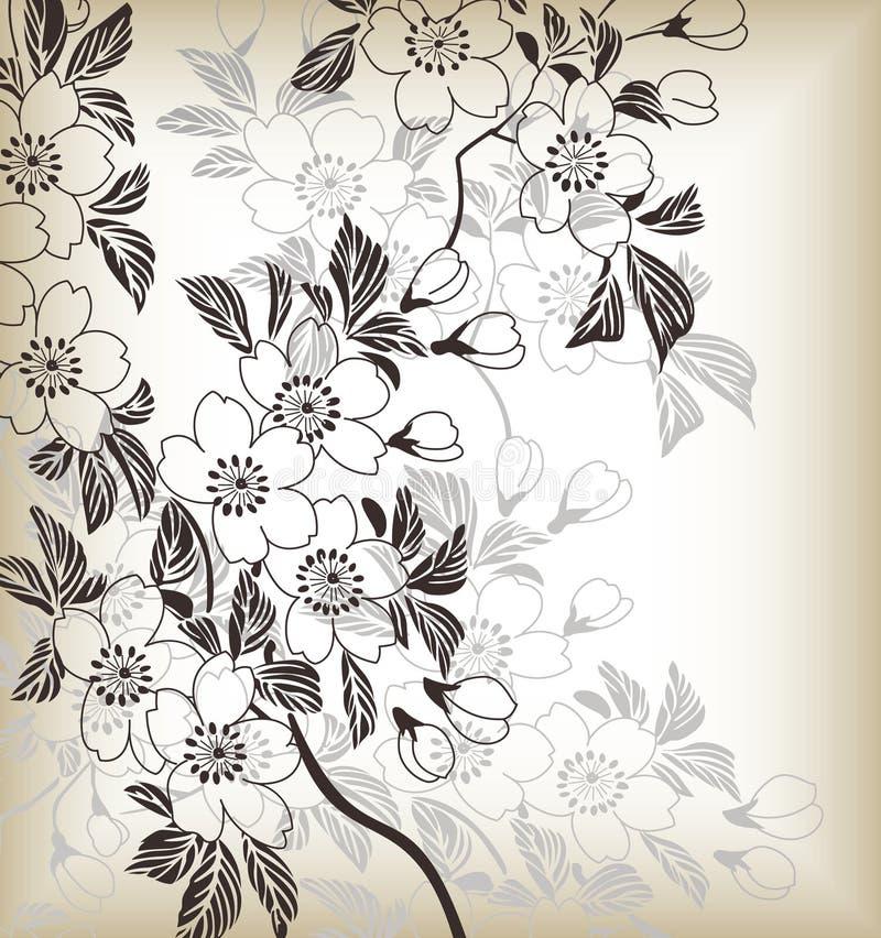 japończyka kwiecisty wzór royalty ilustracja