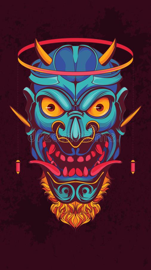 Japończyka Oni maski plakata ilustracja royalty ilustracja