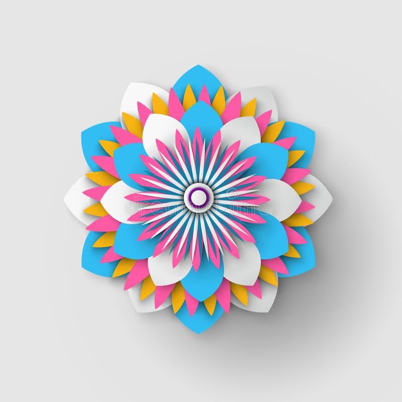Japończyka Origami papieru kwiat Odizolowywający Rżnięty wektor ilustracji