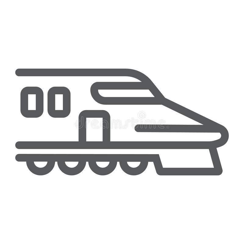 Japończyka pociągu linii ikona, azjata i linia kolejowa, pociska pociągu znak, wektorowe grafika, liniowy wzór na białym tle ilustracji