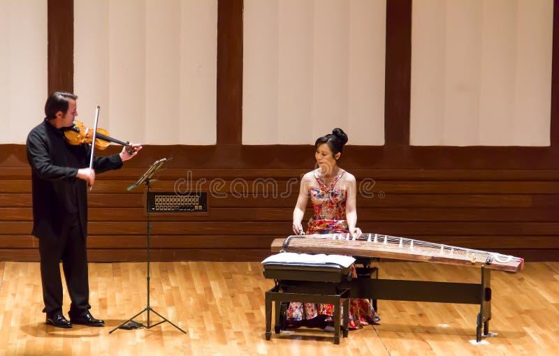 Japończyka Tanabata koncert Z Koto I skrzypce obraz royalty free