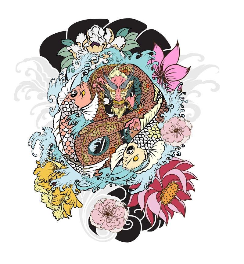 Japończyka Yang Koja karpia smok i ryba ilustracja wektor