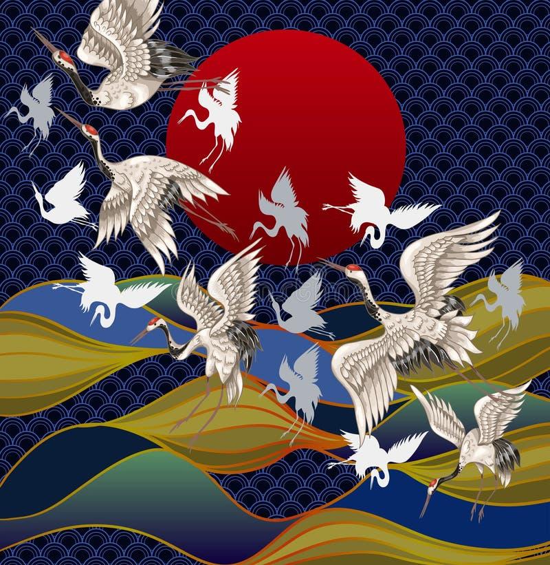 Japońscy żurawie przeciw tłu zmierzch i morze Japoński Tradycyjny obraz dla Drukować ilustracja wektor