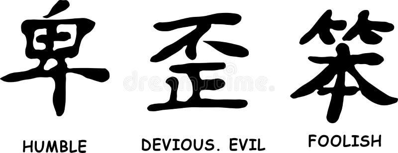 Japońscy hieroglify ilustracja wektor