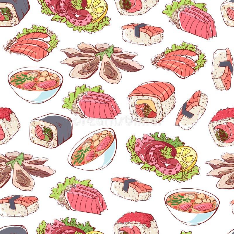 Japońscy kuchni naczynia na białym tle ilustracja wektor