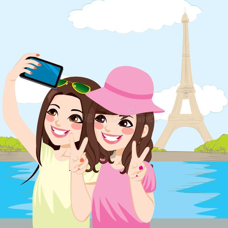 Japońscy przyjaciele Paryż Selfie ilustracja wektor